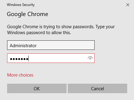 Security analysis of Chrome prompting for Windows password